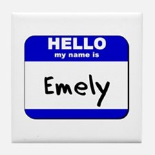 hello my name is emely  Tile Coaster