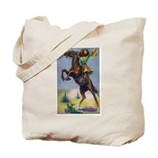 Cowgirl on Bucking Horse Tote Bag