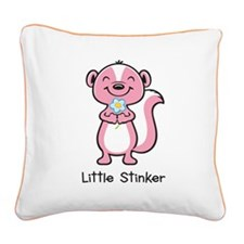 Little Stinker Pink Square Canvas Pillow