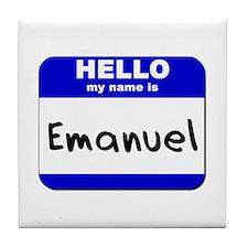 hello my name is emanuel  Tile Coaster