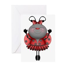 Dancing Ladybug Ballerina Greeting Card
