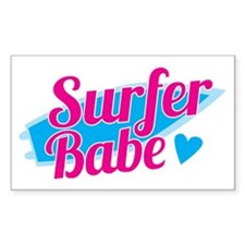 Surfer babe with a blue surfbo Decal