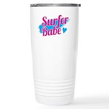 Surfer babe with a blue Travel Mug