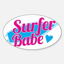 Surfer babe with a blue surfboard Decal