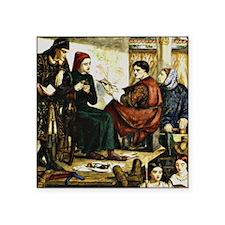 "Giotto Painting the Portrai Square Sticker 3"" x 3"""