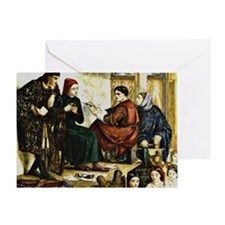 Giotto Painting the Portrait of Dant Greeting Card