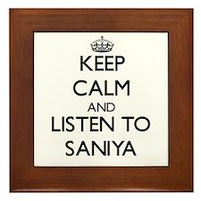 Keep Calm and listen to Saniya Framed Tile