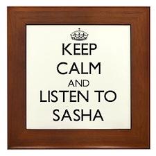 Keep Calm and listen to Sasha Framed Tile