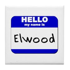 hello my name is elwood  Tile Coaster
