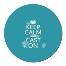 Keep Calm and Cast On Round Car Magnet