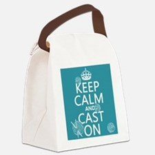Keep Calm and Cast On Canvas Lunch Bag