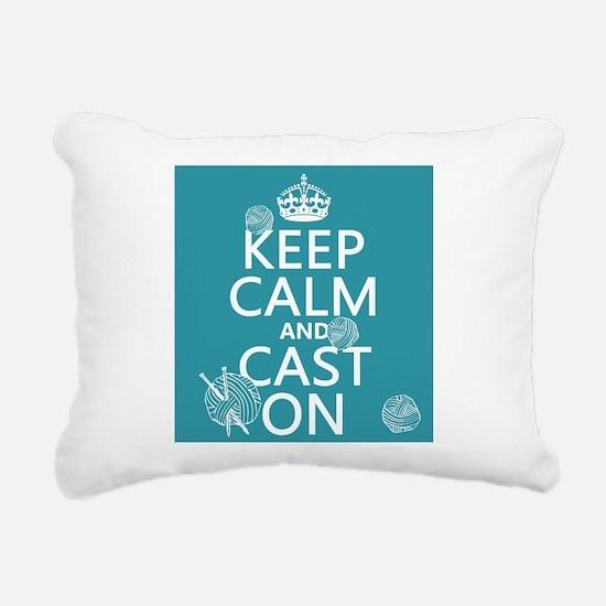 Keep Calm and Cast On Rectangular Canvas Pillow