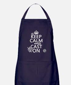 Keep Calm and Cast On Apron (dark)