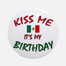 Kiss Me w/Mexican Flag Ornament (Round)
