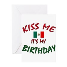 Kiss Me w/Mexican Flag Greeting Cards (Package of