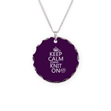 Keep Calm and Knit On Necklace