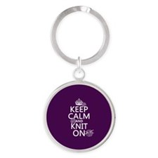 Keep Calm and Knit On Keychains