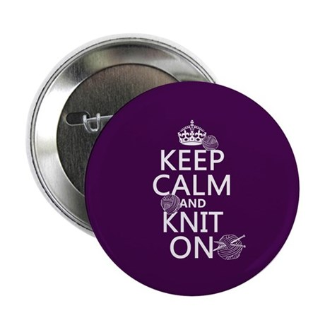 "Keep Calm and Knit On 2.25"" Button (10 pack)"