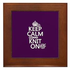 Keep Calm and Knit On Framed Tile