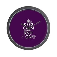 Keep Calm and Knit On Wall Clock