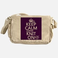 Keep Calm and Knit On Messenger Bag