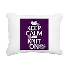 Keep Calm and Knit On Rectangular Canvas Pillow