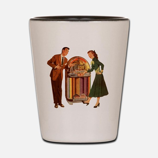 Mid-century Jukebox Illustration Shot Glass