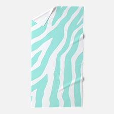 Aqua White Zebra Pattern Beach Towel