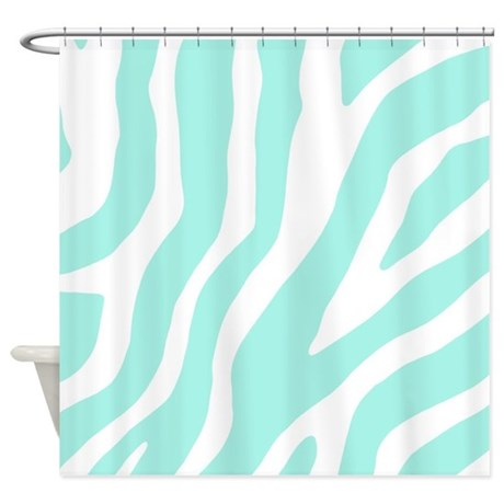 Aqua White Zebra Pattern Shower Curtain By DreamingMindCards