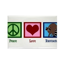 Peace Love Raccoons Rectangle Magnet (10 pack)