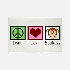 Peace Love Monkeys Rectangle Magnet (10 pack)