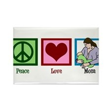 Peace Love Mom Rectangle Magnet (100 pack)