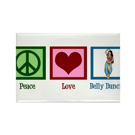 Peace Love Belly Dancing Rectangle Magnet (10 pack