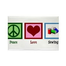 Peace Love Sewing Rectangle Magnet (10 pack)