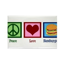 Peace Love Burgers Rectangle Magnet (10 pack)