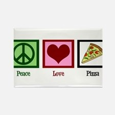 Peace Love Pizza Rectangle Magnet (10 pack)