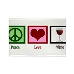 Peace Love Wine Rectangle Magnet (100 pack)