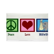 Peace Love Midwife Rectangle Magnet (10 pack)