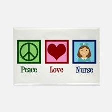 Peace Love Nurse Rectangle Magnet (100 pack)