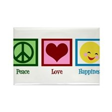 Peace Love Happiness Rectangle Magnet (100 pack)