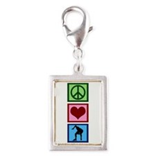 Peace Love Speed Skating Silver Portrait Charm