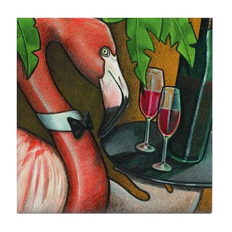 Flamingo Serving Wine Tile Coaster