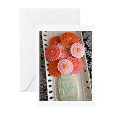 Mason Jar And Zinnias Greeting Cards