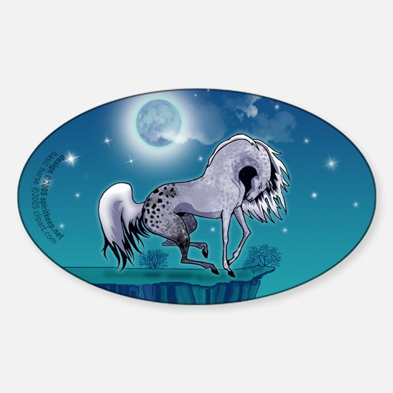 Appaloosa Horse by Moonlight Oval Decal