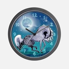 Appaloosa Horse by Moonlight Wall Clock