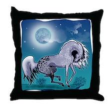 Appaloosa Horse by Moonlight Throw Pillow#2