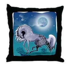 Appaloosa Horse by Moonlight Throw Pillow #1