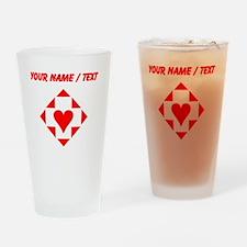 Custom Red Heart Diamond Drinking Glass
