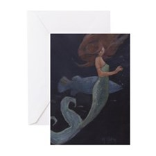 Mermaid and the Blue Fish Greeting Cards