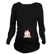 Cute Girls Long Sleeve Maternity T-Shirt